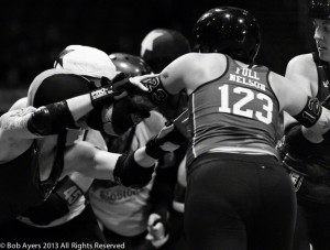 Full Nelson blocks at the 2013 Division I Playoffs last fall in Salem, OR. Photo by Bob Ayers