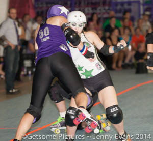 Enurgizer Bunny holds Portland jammer Scald Eagle.  Photo by Jenny Evans
